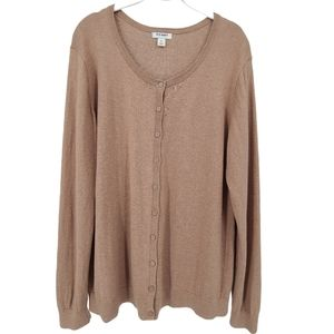 Old Navy Camel Crew Neck Button Front Cardigan